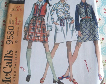 Vintage McCall's Sewing Pattern 9580 Misses' Separates: Blouse, Skirt and Vest size 12 bust 34