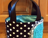 Black and White Polka Dot Scripture Tote with Aqua Rosette-made to order