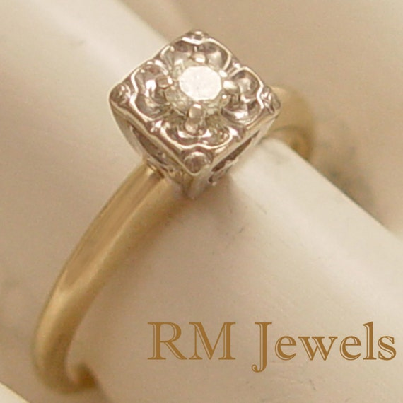 Sparkling Vintage Solitaire Diamond Ring 14Kt Gold  PRICE REDUCED