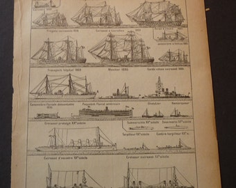 French Lithograph - Maritime Ships - French Marine - 1920s engraving - Petite Larousse original - French labels - gift for ship lovers