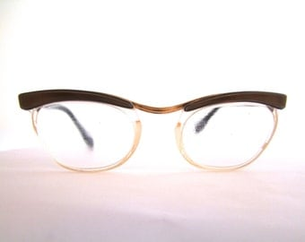 1950s Cats Eye Eyeglasses // 50s Vintage Optical Glasses // 12k Goldfilled //  Browline Cats Eye // Hazco Elena