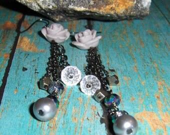 Rose Earrings, Gray Earrings, Chain Earrings, Pyrite Earrings, Grey Earrings