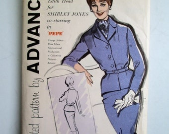 Designer Edith Head Pattern for Shirley Jones in Pepe.  Vintage 1960 Uncut, suit sewing pattern.   Advance. Woman's Size 14.   No. 9691