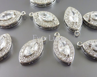 1 Silver Cubic Zirconia CZ marquise charms, pendants, fine jewelry designs, bridal / wedding jewelry 1924R-CL (bright silver, 1 piece)