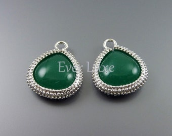 2 Smooth green agate briolette, metal framed stones, briolette charms, jewelry supplies 5123R-GA (matte silver, green agate, 2 pieces)