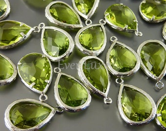 2 Unique apple green faceted glass pendants / large tear drop glass beads for jewelry making 5060R-AG (bright silver, apple green, 2 pieces)