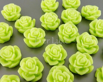 4 yellow green resin cabochon findings / rose flower cabochons 5082-YG