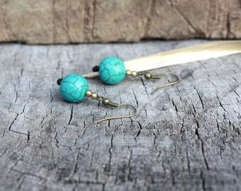 Turquoise Ball Brass Earring