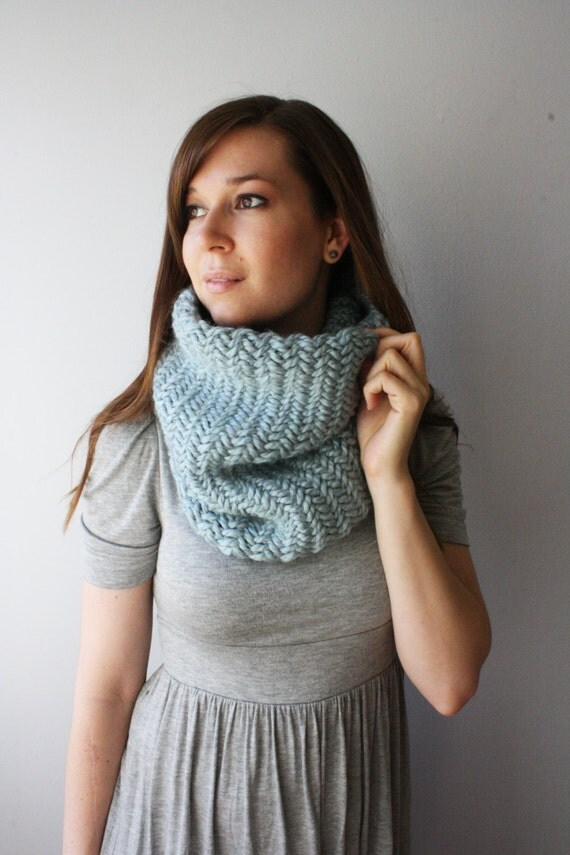 The Herringbone // Thick Knit Chevron Pattern Cowl Warm Winter Neckwarmer // Stone // Made to Order