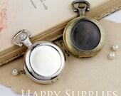 2Pcs Round Blank Vintage Style  Locket Pendant / Pocket Watch Pendant (TTHB25)