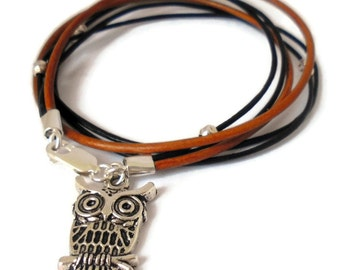 Autumn Owl Totem Bracelet - sterling silver brown leather - Intuition, Wisdom, Life transition & change