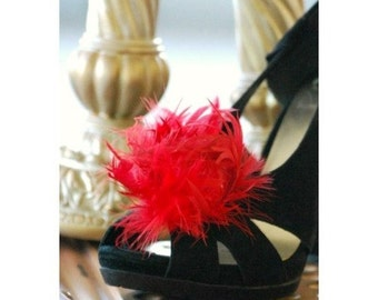 Bridal Shoe Clips Ruby Red Feather Puff. Couture Bride Feminine Bridesmaid Party, Spring Statement Glamourous Wedding Clip, Birthday Fashion