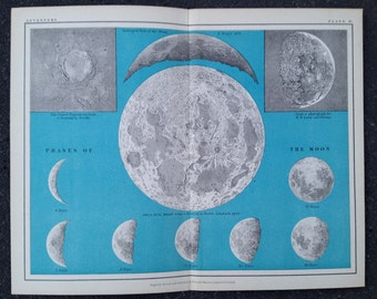 1908 ANTIQUE MOON LITHOGRAPH - astronomy chart original antique celestial  print - phases of the moon in gray
