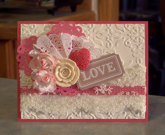 LOVE Card using Stampin Up Artisians Embellishments Anniversary or Valentine's Day