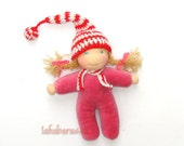 waldorf christmas elf dark pink body and striped hat red white, 10 inch,