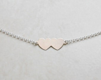 """Double heart necklace, 17"""", sterling silver, gift for women, twins, wedding, sister, mom, wife, littleglamour gift - Francesca"""