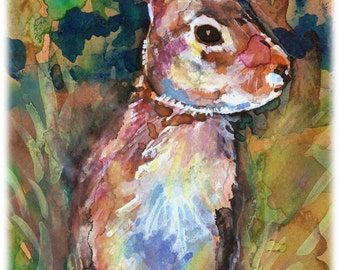 Eastern Cottontail Rabbit Artist Signed Watercolor Print