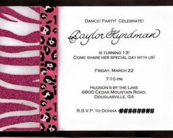 Pink and black zebra, giraffe custom birthday invitaitons