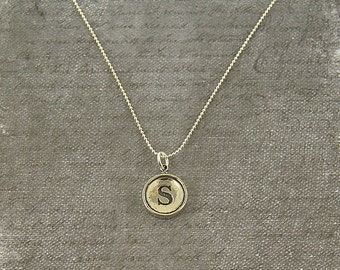 Letter S Necklace - Sterling Silver Initial Typewriter Key Charm Necklace - Gwen Delicious Jewelry Design