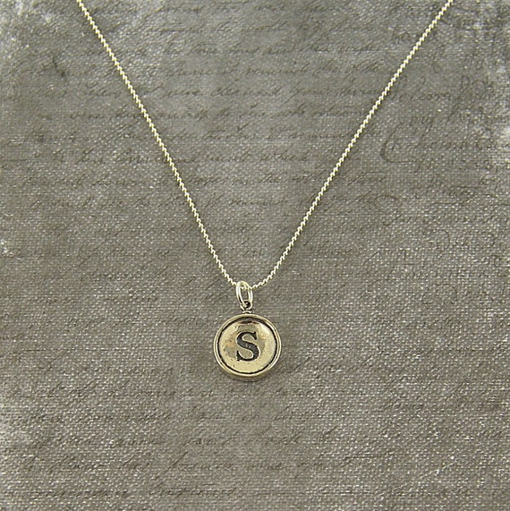 letter s necklace sterling silver initial typewriter key charm necklace gwen delicious jewelry design
