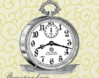 Alarm Clock Stopwatch Pocket Watch Steampunk Watch Digital Stock Image Instant Download Transfer To Pillows Tote Tea Towels Burlap