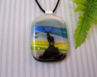 Dichroic Glass Pendant Necklace, Nature's Splendor, Fused Glass Pendant, Fused Dichroic Glass, Wildlife, 92-13