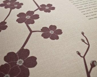 Bookcloth Ketubah Print by Jennifer Raichman - Cherry Blossom Branch