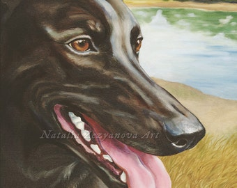 Greyhound - 8x10 Giclee Print from Oil Painting