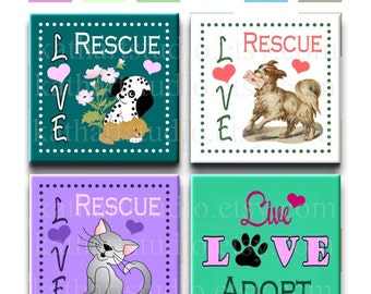 Buy 2 GET 1 FREE - Instant Download - Animal Rescue Adopt Dog Cat Collage Sheet - 1 inch square for jewelry, pendants, scrapbooking 344