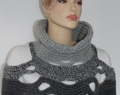 Reserved for Guity  Universal Grey Crochet Poncho Shawl ,Chunky Knit ,Crochet Scarf Cowl, Crochet  Vest Sweater - Fall Fashion Ready to ship