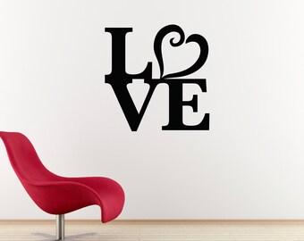 Love Wall Decal - Heart Wall Art - Wall Sticker - Large