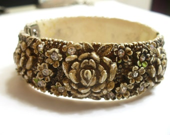 Vintage unique celluloid bangle with flowers and rhinestones - vintage costume jewelry