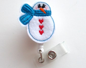 Snowman with blue scarf - Retractable ID Felt Badge Holder - Holiday Badge Reel - Nurses Badge Holder - Nurse Badge - Teacher Badge