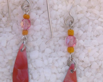 Hand Dyed Coral Anodized Aluminum Earrings