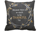 Pillow Cover Chalkboard Style Thankful Autumn Fall Decor Cotton and Burlap Pillow