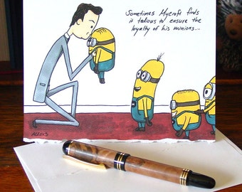 Mycroft Holmes has Minions blank card - Sherlock BBC - Despicable Me