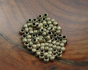 100 or 500 pcs 2 mm Crimp Beads, Antiqued Gold Plated Brass 1.5 mm Inner Diameter
