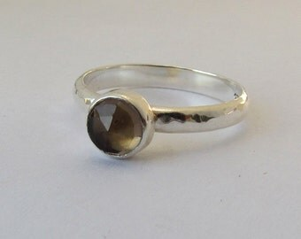 Smokey Quartz And Sterling Silver Solitaire Stacking Ring size 7.5 READY TO SHIP