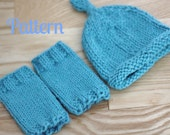 Knitting Pattern Newborn Baby Leg Warmers and Knot Top Hat Set, Instant Download