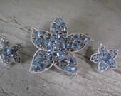 Sarah Coventry Blue Rhinestone Brooch and Earrings
