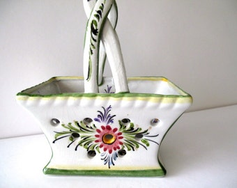 Hand-painted Ceramic Basket from Portugal