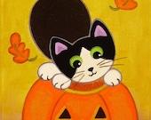 Tuxedo CAT & Jack-O-Lantern PUMPKIN Folk Art PRINT from Original Painting by Jill