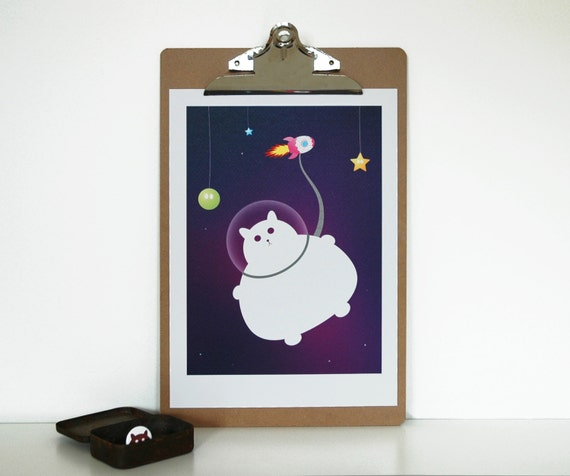 Colorful Cat Kawaii A4 Print of a Fat Cat in Space on a Purple Background