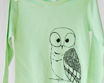 Girls Shirt, Girls Owl Shirt, green, Owl Shirt, Owl, Long Sleeve T-shirt, size 4