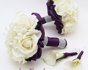Purple Wedding Flower Package Bridesmaid Bouquets Groomsman Boutonnieres Silk Stephanotis Real Touch Roses Real Touch Calla Lilies
