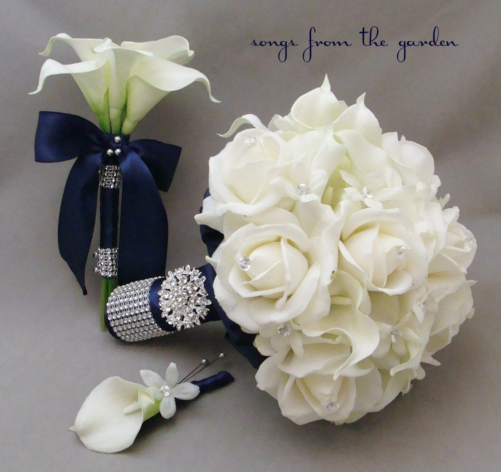 Navy white bridal bouquet toss bouquet real touch roses calla for Wedding bouquets