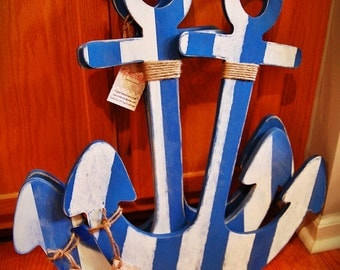 Nautical Striped Shabby Chic 13-36 inch wooden anchor Nautical Home Decor Price is for ONE anchor