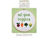 Eat Your Veggies Cross Stitch Kit, DIY Kit, Embroidery Kit, Vegetable Cross Stitch, Food Cross Stitch
