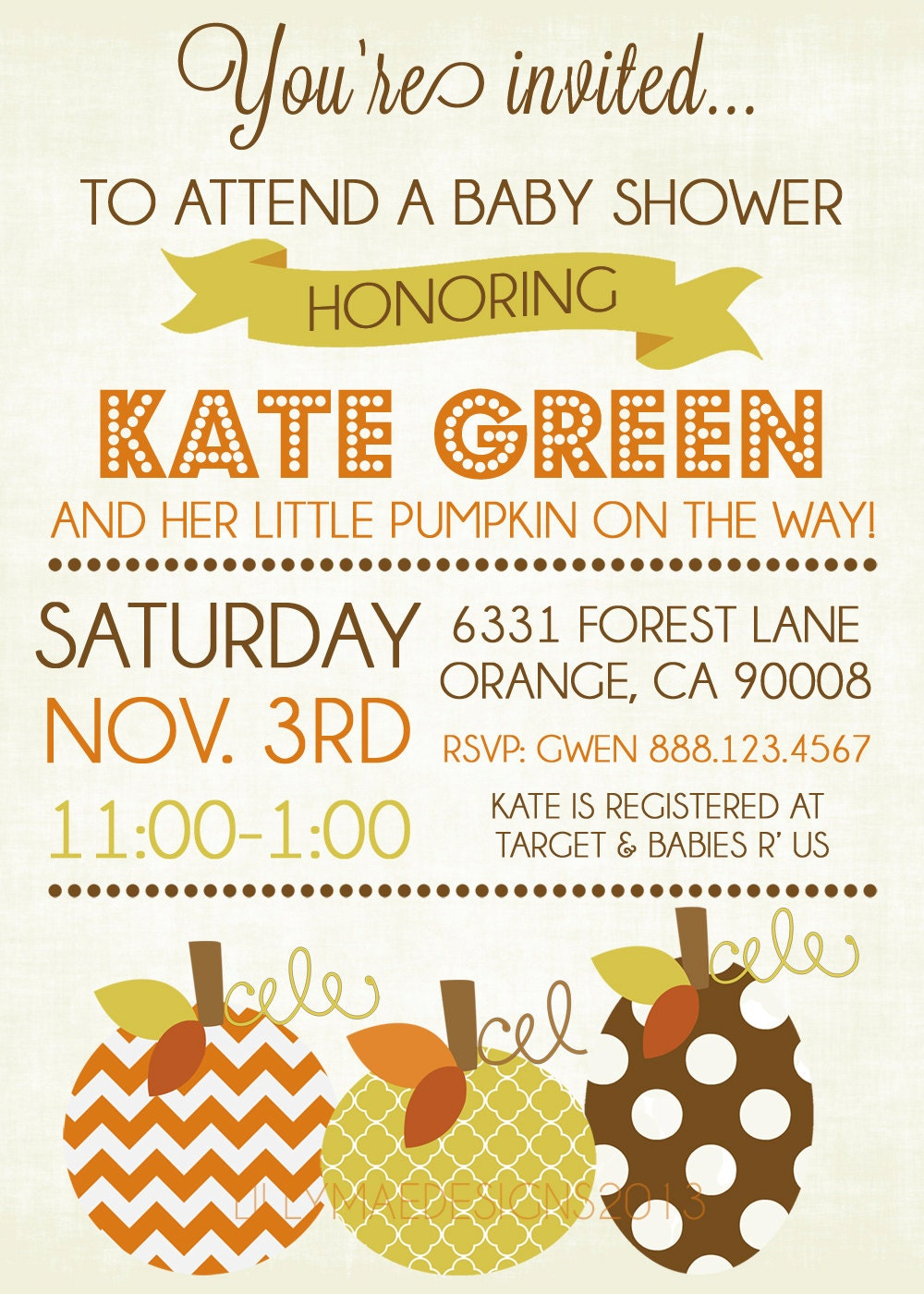 fall baby shower invitations fall party by lillymaedesigns