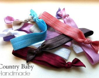 Elastic Hair Ties 10 Assorted...Elastic tied hair ties...Pony tail holders